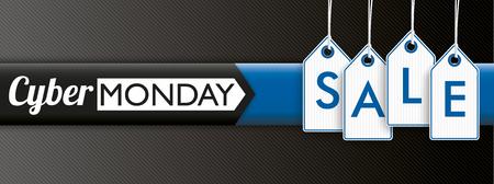 Colgando etiquetas de precios con el texto Cyber ??Monday venta en el fondo de rayas oscuras. archivo vectorial. Ilustración de vector