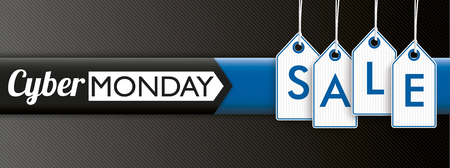monday: Hanging price stickers with text Cyber Monday Sale on the dark striped background. vector file.