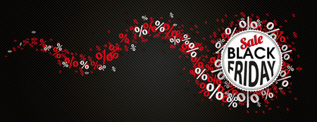 black banner: Paper emblem for black friday sale with red banner and percents on the dark background. vector file.