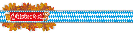 Oktoberfest banner with beer, pretzel, foliage and bavarian ribbon on the white. vector file. Illustration