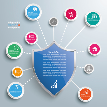 web security: Infographic design with protection shield, network and circles on the gray background. vector file.