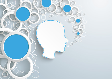 Human head with white rings and blue circles on the gray background. vector file.