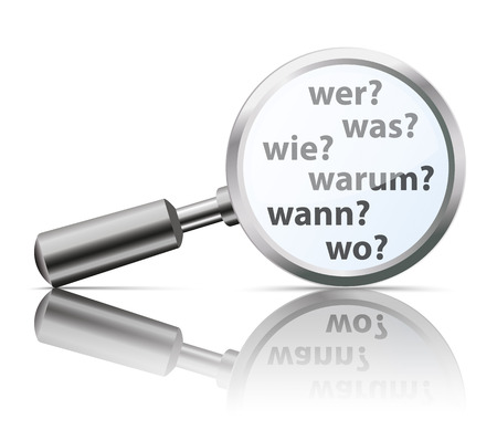 where: German questions Wer, Wie, Was, Wo Warum, Wann, translate Who, How, What, Where, Why, When. vector file.