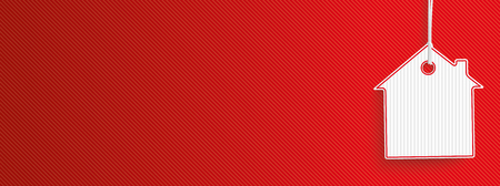Hanging house shape price sticker on the red striped background. vector file. Vettoriali