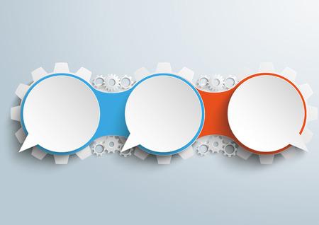 diseño de infografía con el habla burbujas con los engranajes en el fondo gris. archivo vectorial. Ilustración de vector