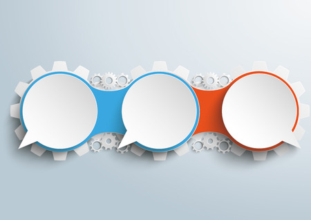 opposing views: Infographic design with connected speech bubbles with gears on the gray background. vector file. Illustration