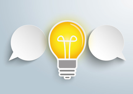 opposing views: Infographic design with 2 paper speech bubbles and bulb on the gray background. vector file.