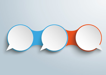 opposing views: Infographic design with connected speech bubbles on the gray background. vector file.
