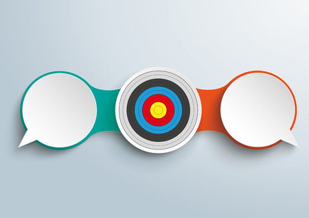 opposing views: Infographic design with 2 speech bubbles and target on the gray background. vector file.