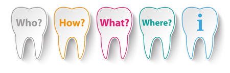 Teeth with questions Who, How, What, Where. vector file.