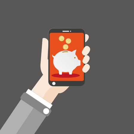 cfo: Flat design with human hand, a smartphone and piggy bank. vector file. Illustration