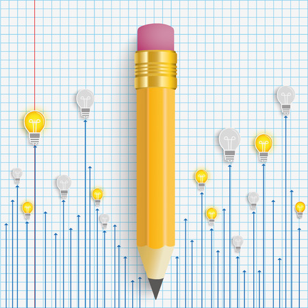 writting: Bulbs with pencil on the checked paper. vector file.
