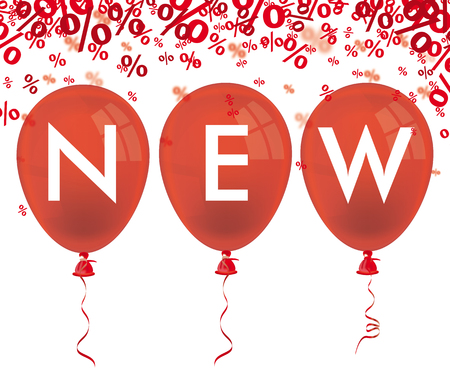 newest: Red balloons and text new on the white background. vector file.