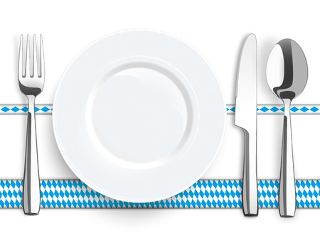 laths: Flatware and bavarian national colors ribbons with text Oktoberfest on the white background. vector file.