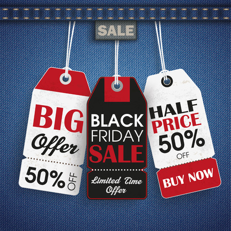 jeans fabric: Blue jeans fabric with price labels for Black Friday. vector file.