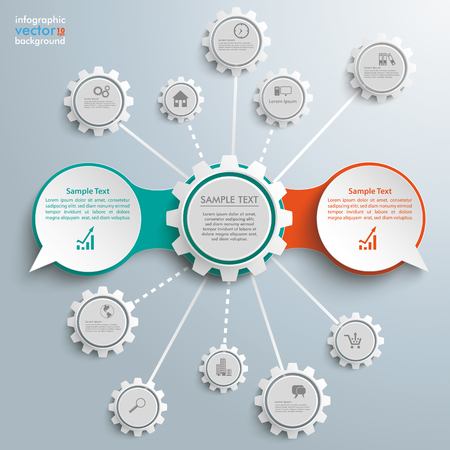 opposing: Infographic design with speech bubbles and gears on the gray background. vector file. Illustration