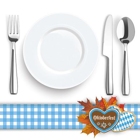 flatware: Flatware and gingerbread with text Oktoberfest on the white background. vector file. Illustration