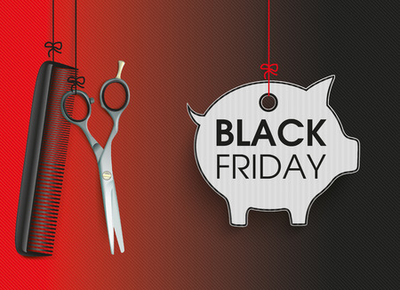 Hanging hairdresser tools with piggy bank price sticker for black friday. vector file.
