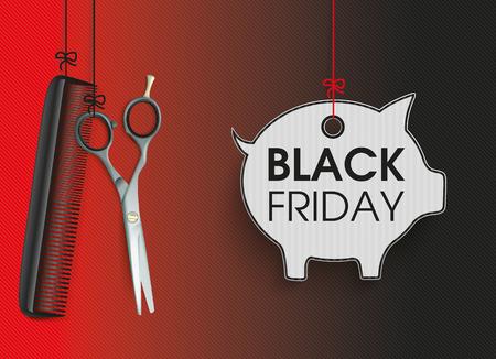 Opknoping kapper gereedschappen met spaarvarken prijs sticker voor zwarte vrijdag. vector bestand.