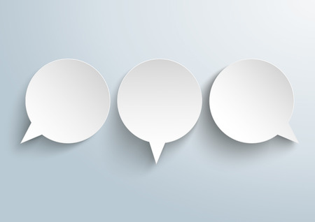 opposing views: Infographic design with 3 paper speech bubbles on the gray background. vector file.