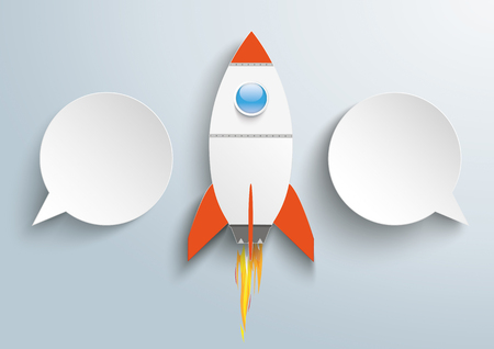 Infographic design with 2 paper speech bubbles and rocket on the gray background. vector file.