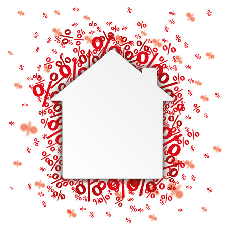 home shopping: Paper speech bubble with red banner and percents on the white. vector file. Illustration