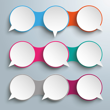 opposing views: Infographic design with 9 speech bubbles on the gray background. vector file.