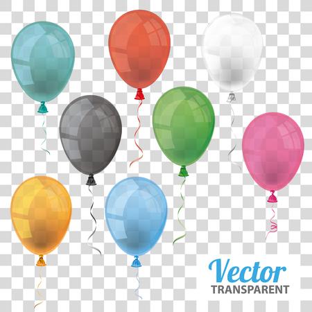 Farbige und transparente Ballone auf dem überprüften Hintergrund. Vektordatei. Illustration