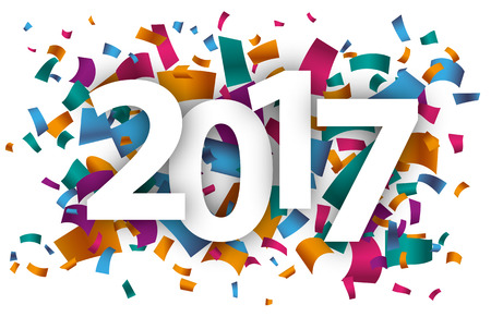 the end of the year: Confetti with text 2017. vector file.