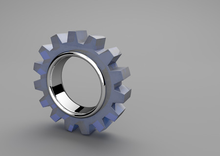 worker working: Glass gear wheel on the gray background. 3d illustration.