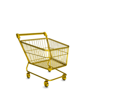 caddy: Golden shopping cart on the white background. 3d illustration.