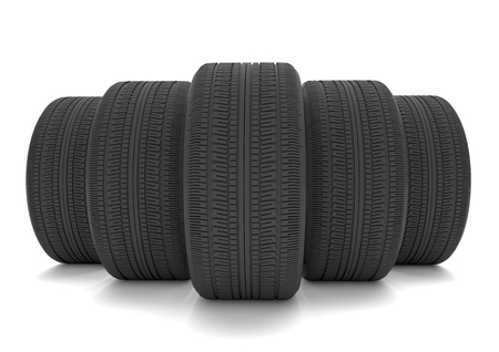 assist: Five tires on the white background. 3d illustration.