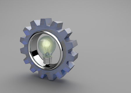 gray bulb: Gear wheel with bulb on the gray background. 3d illustration.