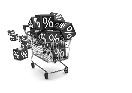 Shopping cart with black cubes percent on the white. 3d illustration.