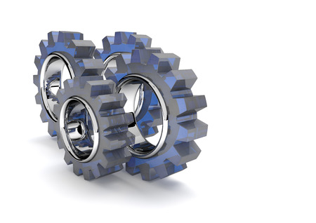 gear wheels: Gear wheels on the white background. 3d illustration. Stock Photo