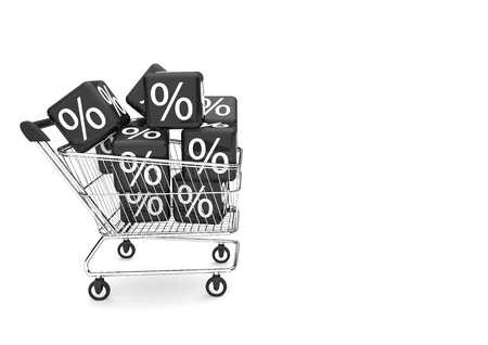 shopping cart with black percent cubes on the white background. 3d illustration.