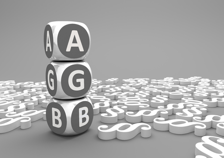 general: German text AGB, translate general business terms. 3d illustration. Stock Photo