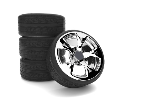 Car tires with rims on the white. 3d illustration. Stock Photo
