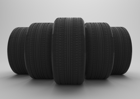 snow tires: 5 tires on the gray background. 3d illustration.