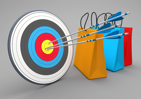 Target with arrows and 3 colorful shopping bags on the white. 3d illustration.