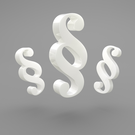 3 porcelain paragraphs on the gray background. 3d illustration.