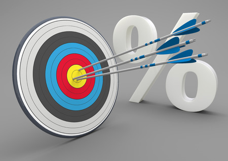 couching: Target with arrows and white percent on the gray background. 3d illustration.