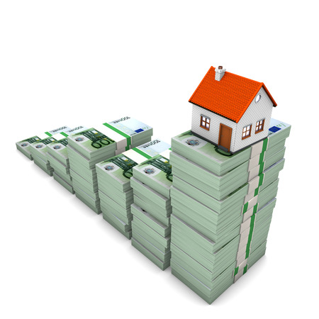 hypothec: House building with euro notes chart on the white background. 3d illustration.