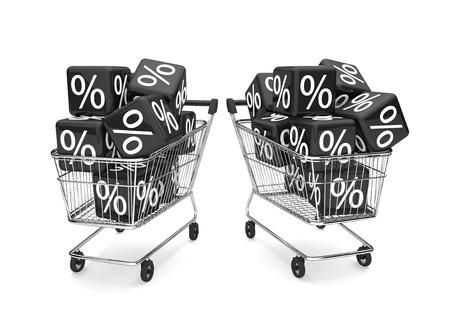 percent: 2 shopping carts with black percent cubes. 3d illustration.