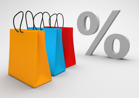percent: Three colorful shopping bags with percent on the gray background. 3d illustration.