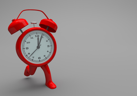 noon: Running red alarmer on the gray background. 3d illustration.