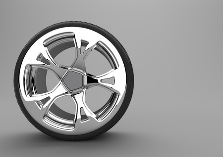 alloy: Tire with alloy wheel on the gray background. 3d illustration.