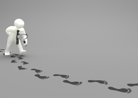 retrieval: Manikin with loupe and footprints on the gray background. 3d illustration.