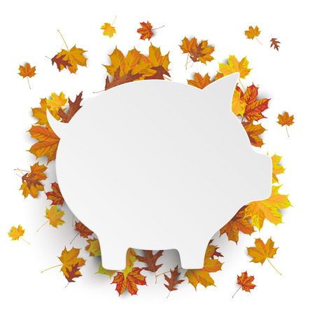 fonds: White paper piggy bank with autumn foliage on the white background. vector file.
