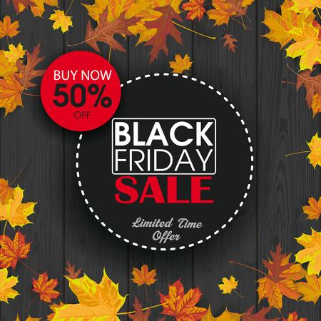 listones de madera de color negro con follaje para el viernes negro. archivo vectorial. Ilustración de vector